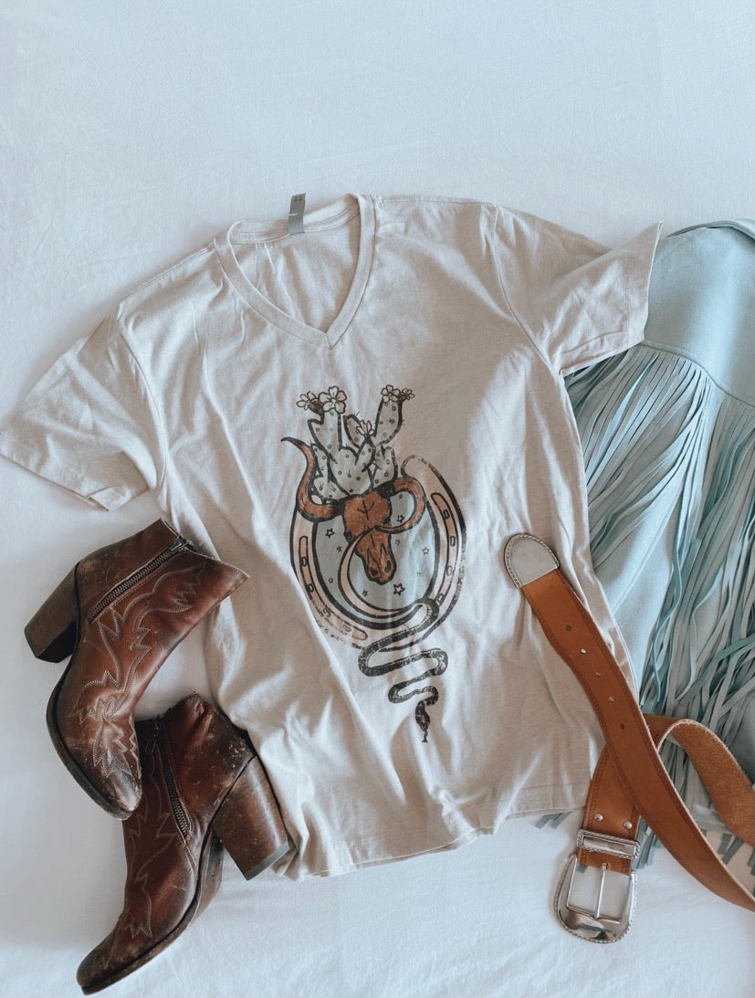 Oatmeal Steer Graphic Tee (S-XL)