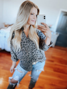 Grey Leopard Blouse