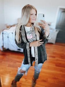 Black Denim & Snake Jacket