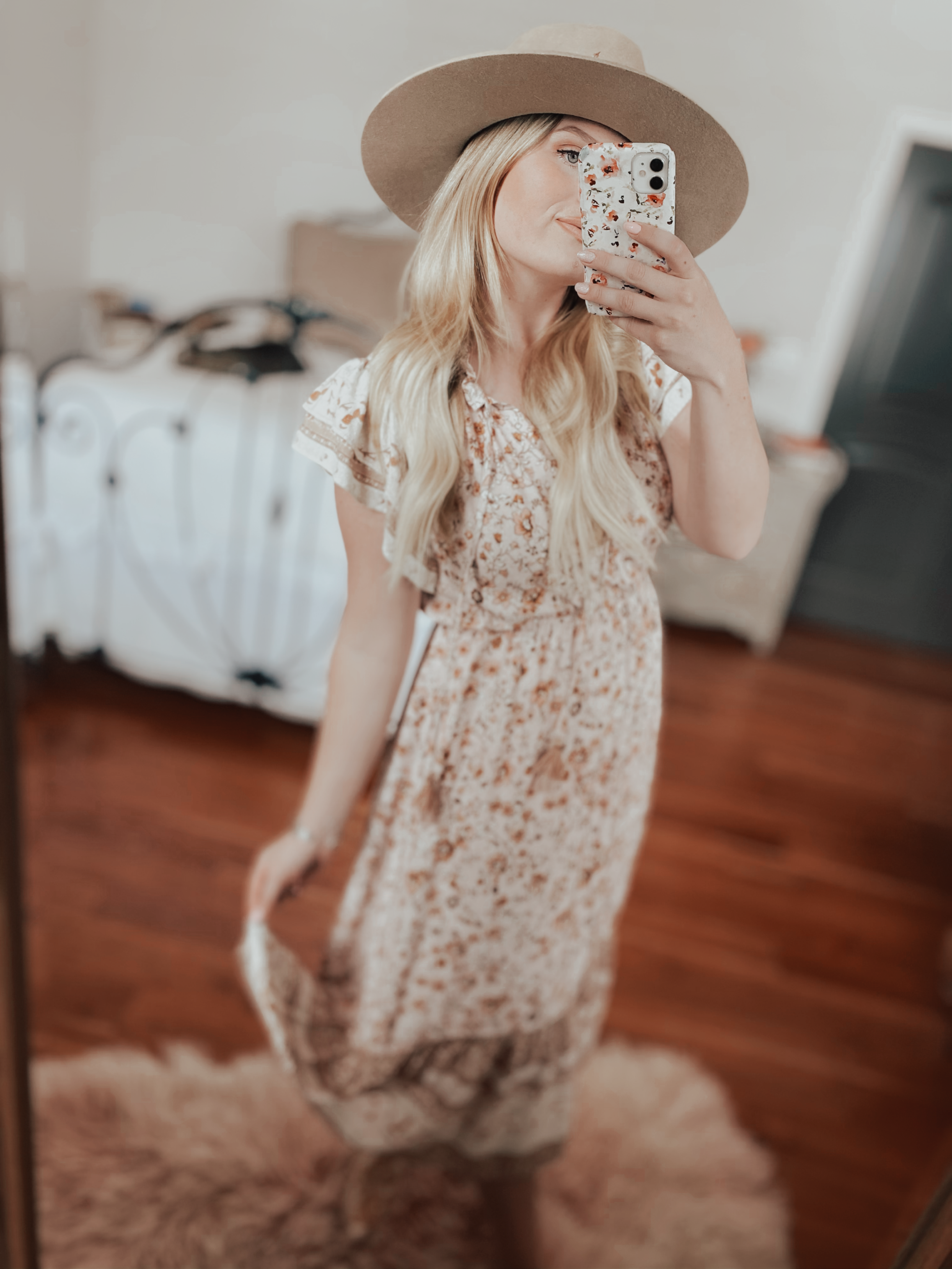 Floral Flutter Sleeve Dress