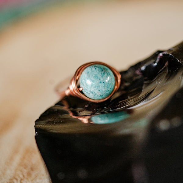 Amazonite and Copper Ring