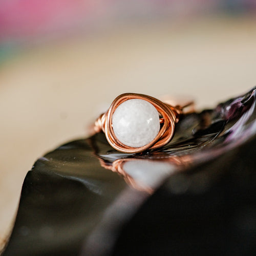 Snow Quartz and Copper Ring