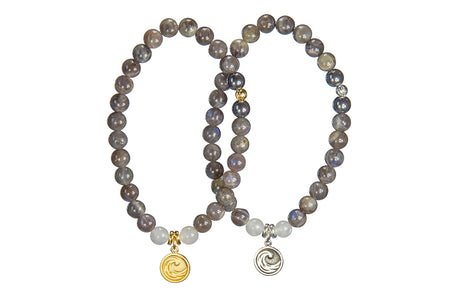 Ganesh and Snow Quartz Crown Chakra Bracelet