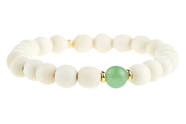 Youth Yoga Project Aventurine and Wood Heart Chakra Bracelet