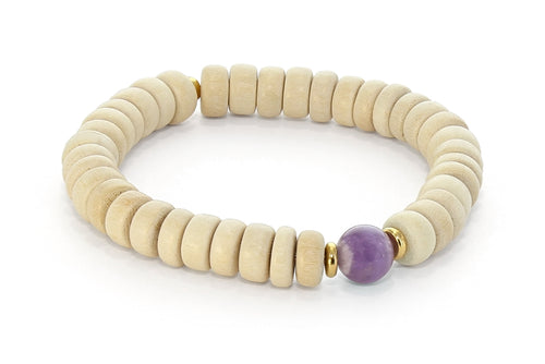Wood and Single Stone Chakra Bracelet - Third Eye Chakra, Amethyst