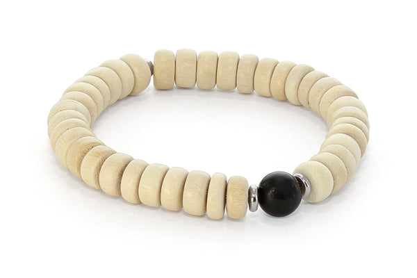 Wood and Single Stone Chakra Bracelet - Root Chakra, Hematite or Obsidian
