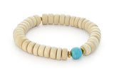 Wood and Single Stone Chakra Bracelet - Throat Chakra, Turquoise