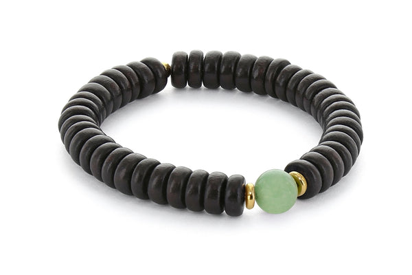 Wood and Single Stone Chakra Bracelet - Heart Chakra, Aventurine