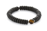 Wood and Single Stone Chakra Bracelet - Solar Plexus Chakra, Tigers Eye