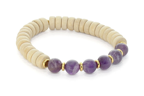 Wood and Six Stone Third Eye Chakra Bracelet, Amethyst