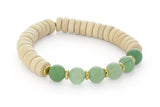 Wood and Six Stone Heart Chakra Bracelet, Aventurine