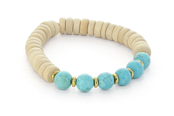 Wood and Six Stone Throat Chakra Bracelet, Turquoise