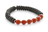 Wood and Six Stone Sacral Chakra Bracelet, Carnelian