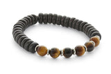 Wood and Six Stone Solar Plexus Chakra Bracelet, Tigers Eye