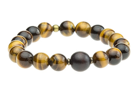 Single Stone Solar Plexus Chakra Bracelet with Tigers Eye and White Wood