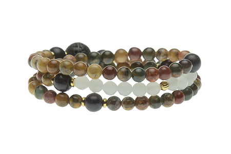 Stacked Wrist Mala or Necklace, Black Obsidian – Root Chakra