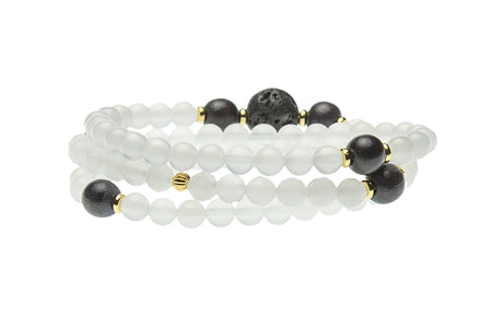 Know Your Truth. Crystal Quartz and Black Wood, Crown Chakra Bracelet