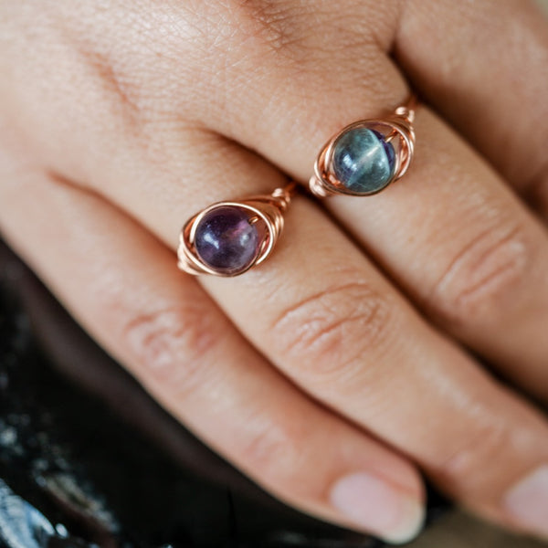 Rainbow Fluorite and Copper Ring