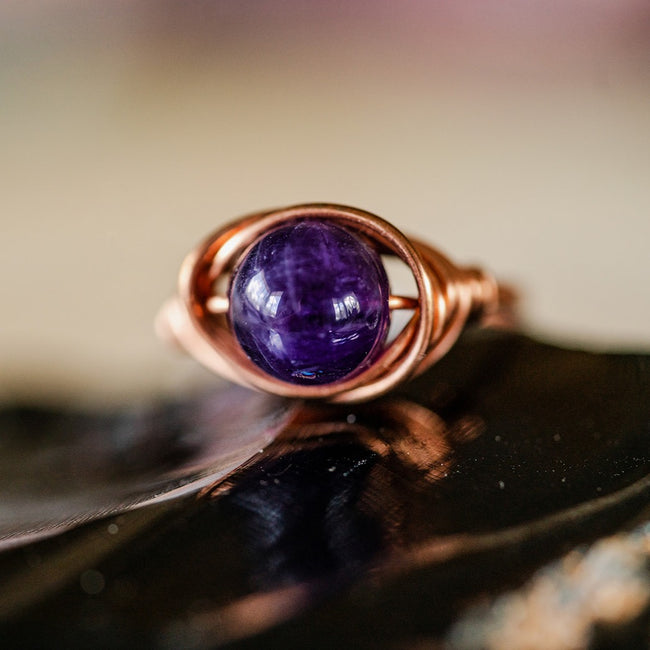 Amethyst and Copper Ring