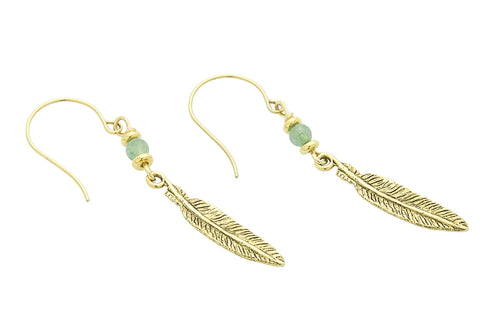 Silver or Gold Heart Chakra Feather Earrings with Green Aventurine