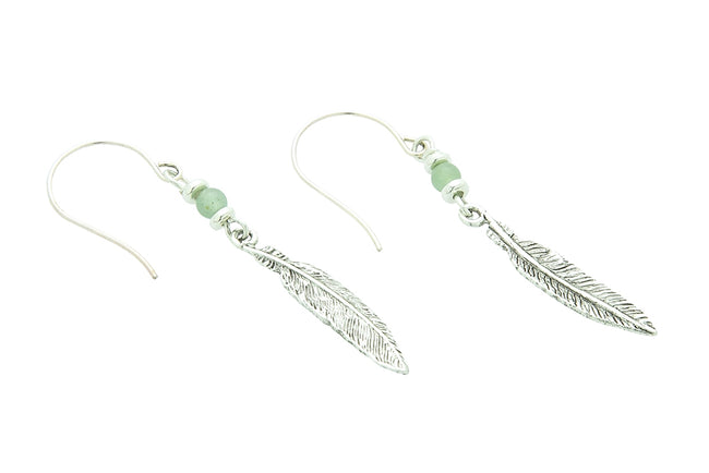 Feather Earrings, Green Aventurine – Heart Chakra