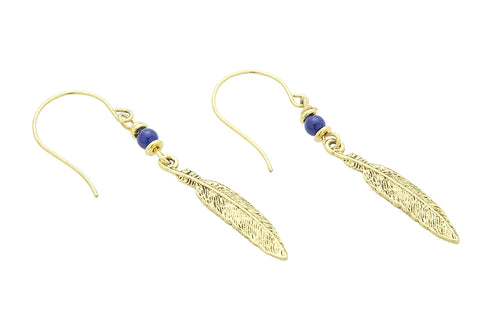 Feather Earrings, Lapis – Throat Chakra
