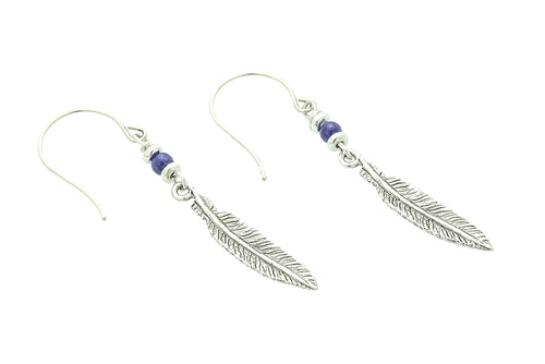 Silver or Gold Throat Chakra Feather Earrings with Lapis Lazuli