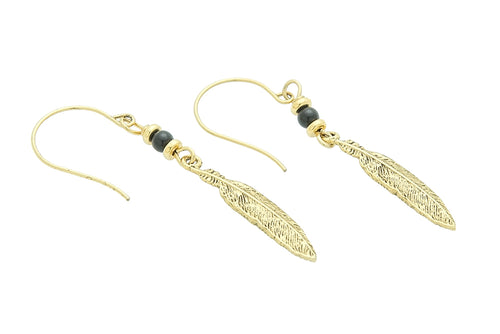 Silver or Gold Root Chakra Feather Earrings with Black Obsidian