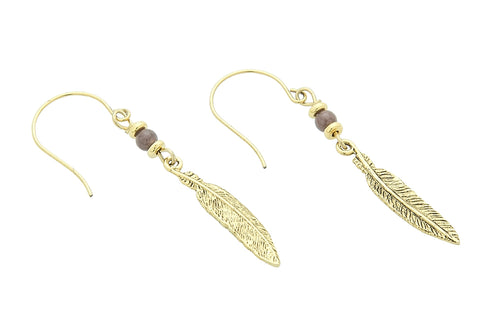 Silver or Gold Third Eye Chakra Feather Earrings with Purple Aventurine