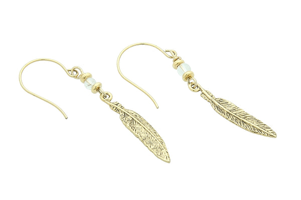 Feather Earrings, Crystal Quartz – Crown Chakra