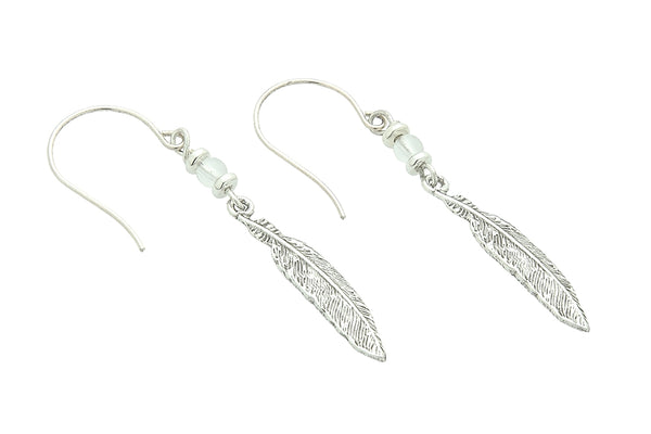 Silver or Gold Crown Chakra Feather Earrings with Crystal Quartz