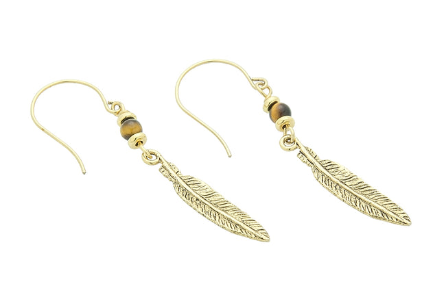 Feather Earrings, Tigers Eye – Solar Plexus Chakra