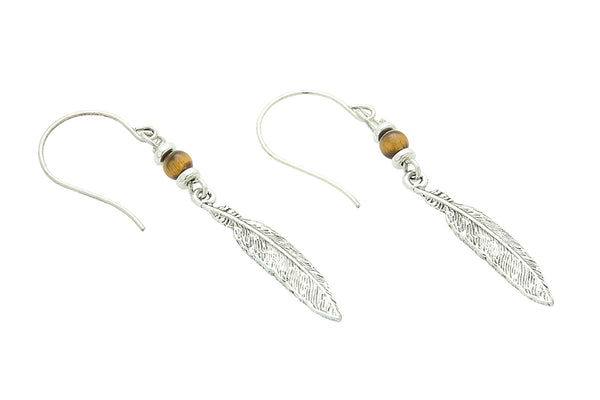 Silver or Gold Solar Plexus Chakra Feather Earrings with Tigers Eye