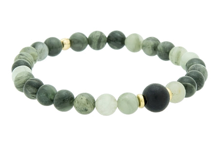 Single Stone Throat Chakra Bracelet with Turquoise and White Wood