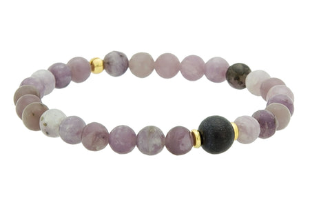 Single Stone Root Chakra Bracelet with Hematite and White Wood