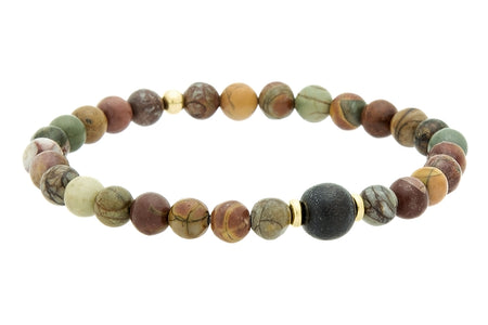 Stacked Gold or Silver and Obsidian, Root Chakra Bracelet