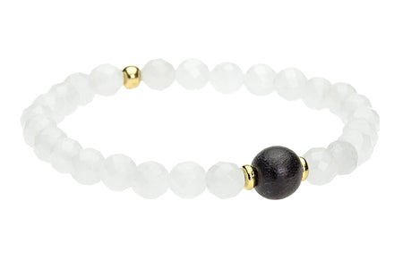 Ignite Your Truth. Obsidian and White Wood, Root Chakra Bracelet