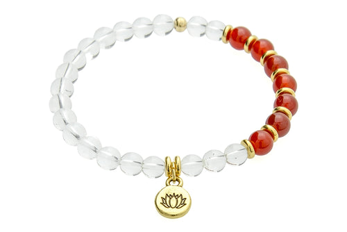 Renew and Protect, Sacral/Crown Chakra – Carnelian and Crystal Quartz