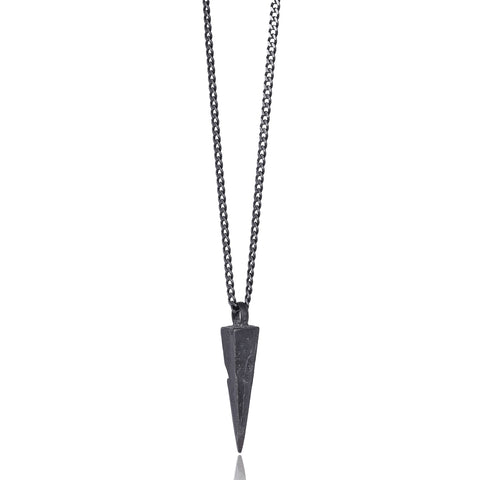 Black Sharp Pyramid Pendant Necklace