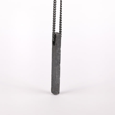 Dark Metal Bar Pendant Necklace