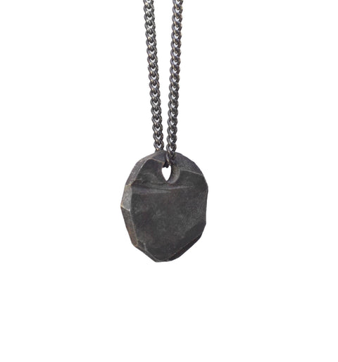 Oxidized Silver Pendant Necklace For Men Rustic Jewelry In Silver Eiji