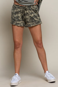 Camo Ruffle Lounge Shorts