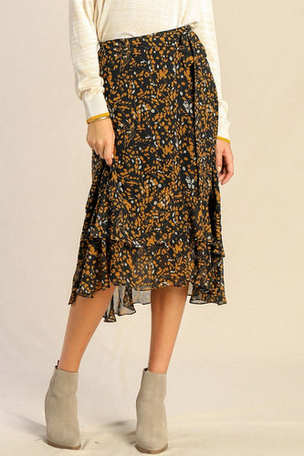 Navy Floral Wrap Midi Skirt