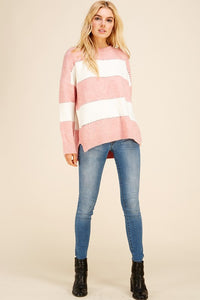 Pink Rugby Stripe Sweater