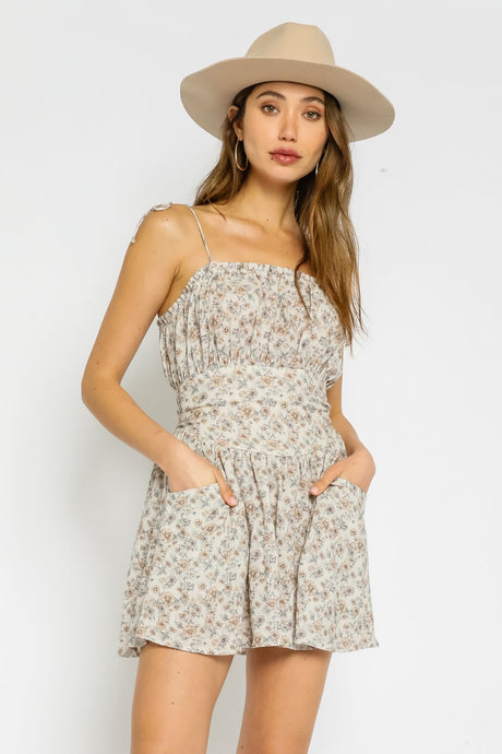 Taupe Floral Cotton Dress