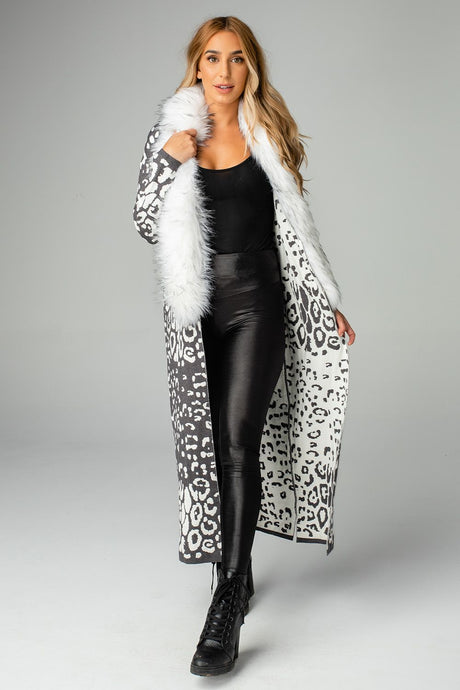 Buddy Love Valerie Grey Leopard Long Cardi