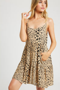 Taupe Leopard Babydoll Dress