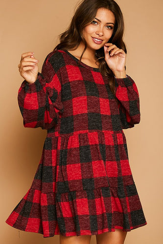 Buffalo Plaid Knit Dress