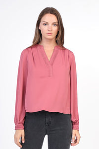 Dusty Pink Notch Collar Blouse