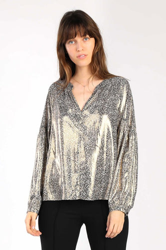 Metallic Ditsy Floral Blouse